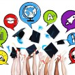 Arms throwing graduation hats — Stock Photo #52466429