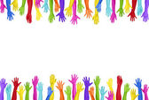 Colorful Hands Raised — Stock Photo