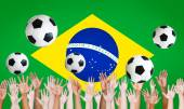 Raised Arms and Brazilian Flag — Stock Photo