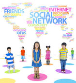 Children and Social Networking Themed Words Forming the World Ab — Stock Photo