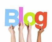 People Holding Word Blog — Stock Photo