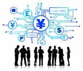 деловые люди, обсуждающие глобальные финансы — Стоковое фото
