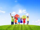 Children Playing Kites — Foto Stock