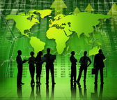 Business People on Green World Economic — Stock Photo