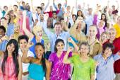 Large multi-ethnic group of people — Stock Photo