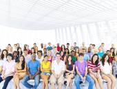 Large group of Students in lecture room — Stock Photo