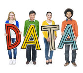 Diverse People Holding Word Data — Stock Photo
