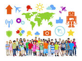 Group of Diverse Children with Various Symbol — Stock Photo