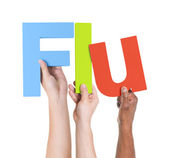 Arms Holding Text Flu — Stock Photo