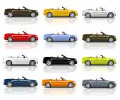 Collection of Multicolored 3D Modern Cars — Stok fotoğraf