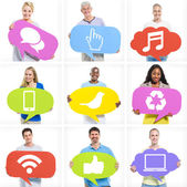 Multi-Ethnic People With Social Media Icons — Stock Photo