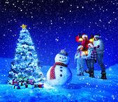 Family celebrating christmas holiday — Stock Photo