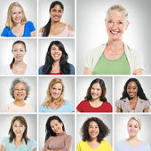 Multi ethnic women smiling — Stock Photo
