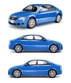Three Blue Sedans in a Row — Stock Photo