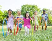 Children with Hula Hoops — Stock Photo