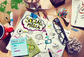 Desk with Social Media Concept — Stockfoto