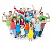Group of mixed age people cheering — Stock Photo