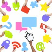 Hands Holding Social Networking Concept — Stock Photo
