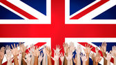 Multi-Ethnic Arms Outstretched With British Flag — Stock Photo
