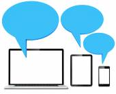 Speech bubbles with laptot, tablet and phone — Stock Photo