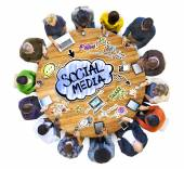 People Discussing Social Media — Stock Photo
