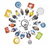 People Forming Circle and Innovation Concept — Stock Photo