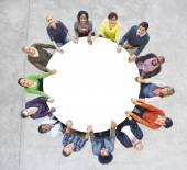 People Forming Circle Holding Hands — Stock Photo