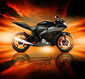 Motorcycle with Skyline Horizon — Stockfoto