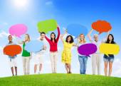 People Holding Speech Bubbles — Foto de Stock