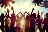 People Celebrating by the Beach — Stock Photo
