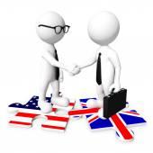 3D Businessman handshaking — Stok fotoğraf