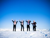 Happy businessmen in wintertime — Stock Photo