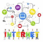 Osób posiadających słowo internet — Zdjęcie stockowe