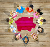 Multiethnic Group of Children with Saving Concept — Stockfoto