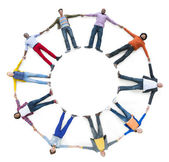 Diverse People Laying Holding Hands — Stock Photo