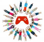 Multiethnic Group of Children with  Video Game — Stock Photo