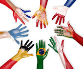 Flags Drawn on Hands Forming Circle — Foto Stock