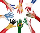 Flags Drawn on Hands Forming Circle — Stockfoto