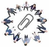 Business People and Paper Clip Symbol — Stock Photo