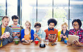 Multiethnic People Socail Networking at Cafe — Stock Photo