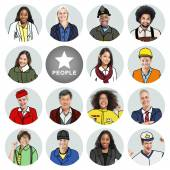 Portraits of DIverse People with Different Jobs — Stock Photo