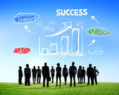 Silhouettes of Business People and Success Concepts — Stock Photo