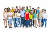 Large group of international students smiling — Stock Photo