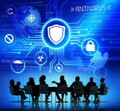 People discussing about Protection from Viruses — Stock Photo