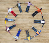 Aerial View of People Forming Circle — Stock Photo