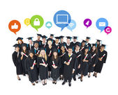 The Social Networking of Graduating Students — Stock Photo