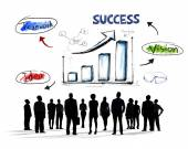Silhouettes of Business People with Growth Concepts — Stock Photo