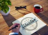 Businessman Brainstorming About Education — Stockfoto