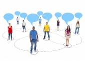 Connected Multi-Ethnic People with Empty Speech Bubbles Above  — Stock Photo