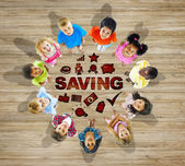 Multiethnic Group of Children with Saving Concept — 图库照片
